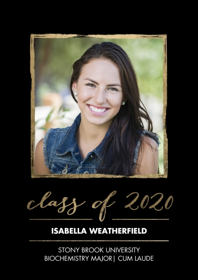 2020 Graduation Announcements 5x7 Cards, Premium Cardstock 120lb, Card & Stationery -2020 Grad Gold Stroke by Tumbalina