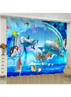 3D Sea World Print Navy Blackout Curtains for Living Room and Bedroom