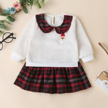 Baby Girl Snowman Embroidery Tartan Sweatshirt Dress