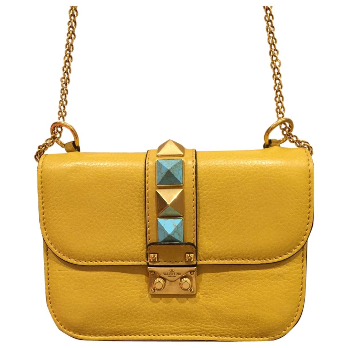 Valentino Garavani - Sac a main Glam Lock pour femme en cuir - jaune