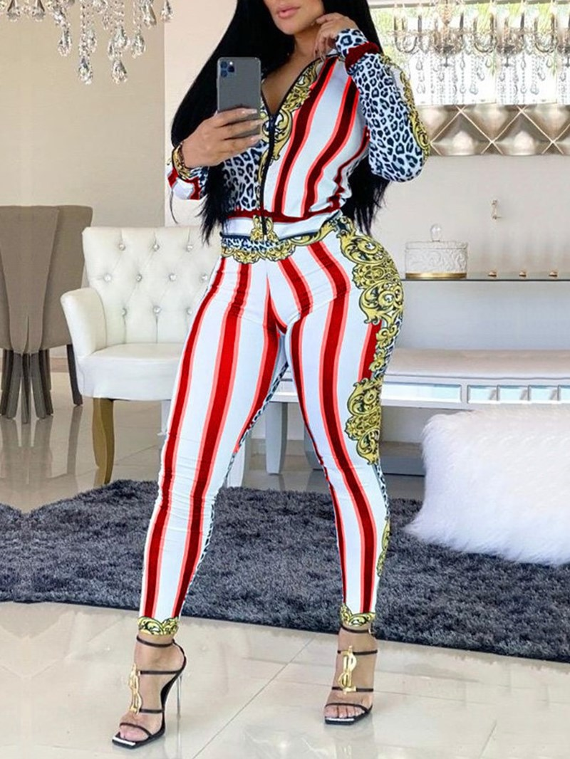Ericdress Print Ankle Length Casual Zipper Two Piece Sets