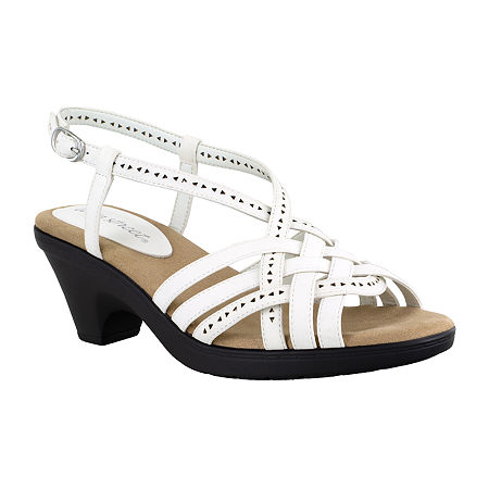 Easy Street Womens Jackson Heeled Sandals, 6 Medium, White