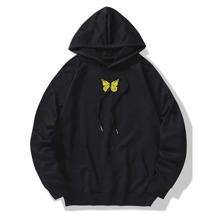 Kapuze mit Schmetterling Muster, Kaenguru Taschen und Kordelzug