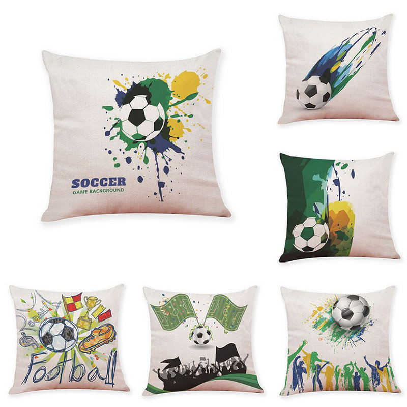 Football Printed Square Linen Pillowcase Home Decoration Cushion Cover