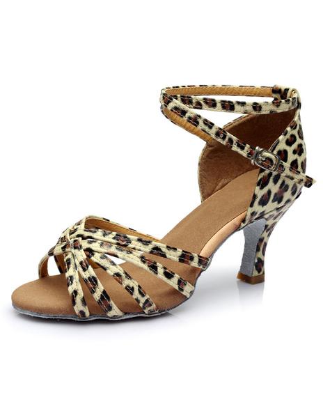 Milanoo Leopard Print Latin Dance Sandals Straps PU Heels