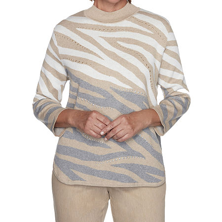 Alfred Dunner Glacier Lake Womens Mock Neck 3/4 Sleeve Animal Pullover Sweater, Small , Gray
