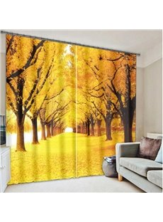 Golden Streets Strewn with Fallen Leaves in Autumn Printed Custom 3D Curtain