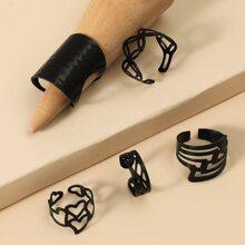 5 Stuecke Ring mit Lochern und Herzen Design