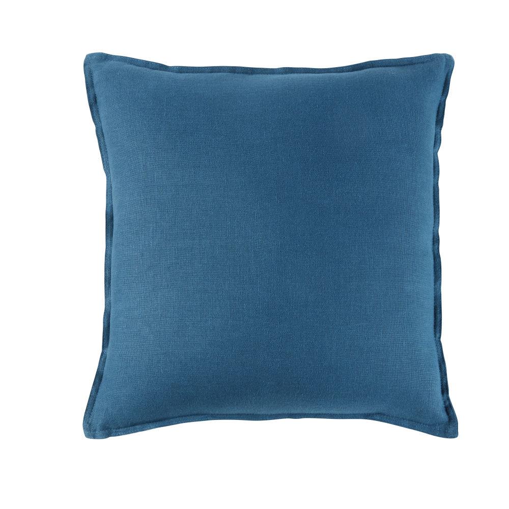 Kissen aus gewaschenem Leinen in Pfauenblau 60x60