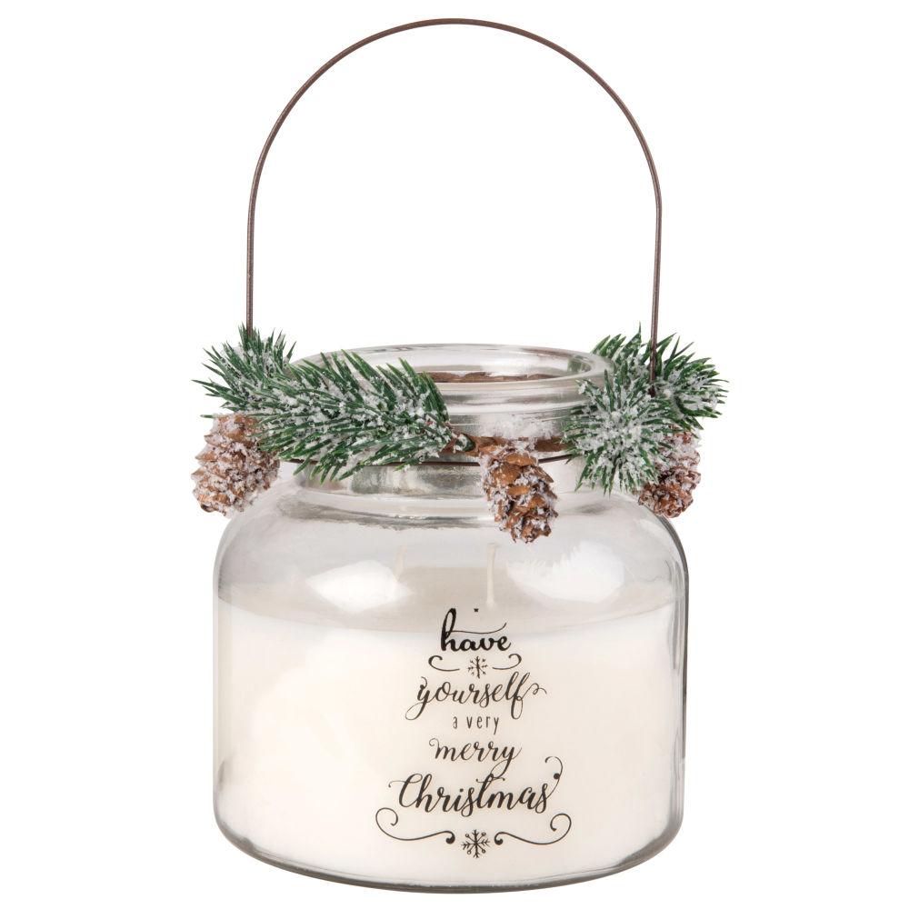 Weihnachtsduftkerze im Glasgefaess mit Kranz