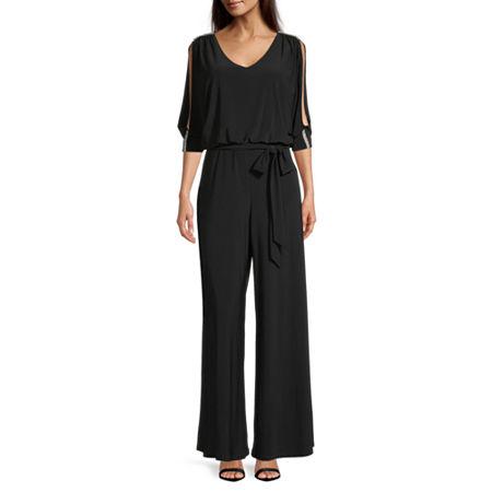 MSK 3/4 Sleeve Belted Jumpsuit, Medium , Black
