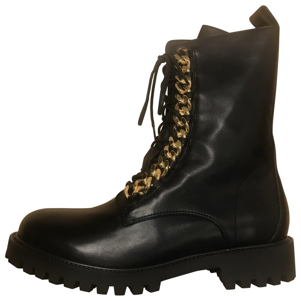 Moschino For H&m - Bottes.Boots   pour homme en cuir - noir