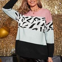 Maternidad jersey de color combinado panel de leopardo