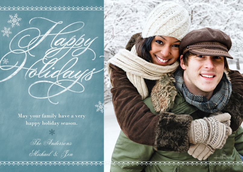 Holiday Photo Cards 5x7 Cards, Premium Cardstock 120lb with Elegant Corners, Card & Stationery -Chalkboard Happy Holidays