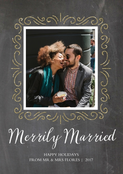 Holiday Photo Cards Flat Glossy Photo Paper Cards with Envelopes, 5x7, Card & Stationery -Merrily Married
