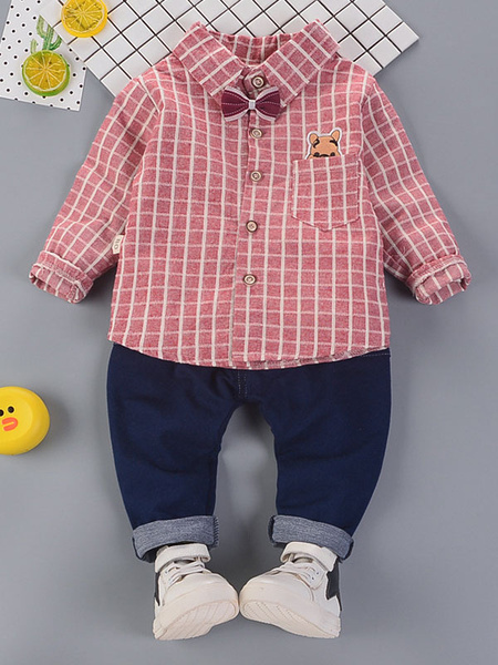 Milanoo Boys Outfit Plaid Blue Shirts And Denim Jeans 2 Piece Set For Kids