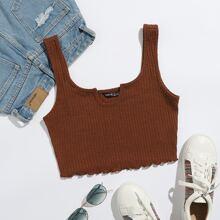 Notched Neck Rib-knit Tank Top
