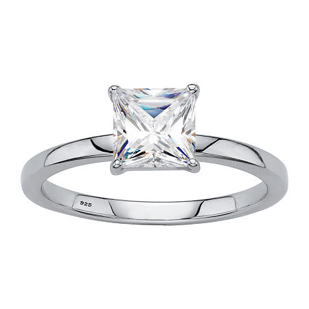DiamonArt Womens 1 1/6 CT. T.W. Lab Created White Sapphire Platinum Over Silver Square Engagement Ring, 8 , No Color Family