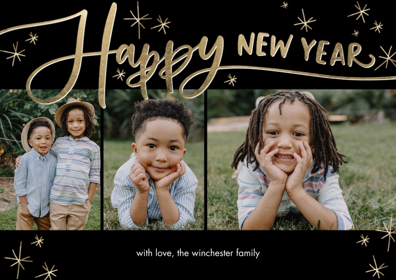 New Years Photo Cards 5x7 Cards, Premium Cardstock 120lb with Scalloped Corners, Card & Stationery -New Year Script Stars by Tumbalina