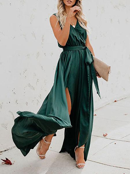 Milanoo Maxi Dress Sleeveless Yellow V Neck Knotted Long Dress