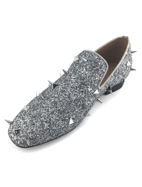 Milanoo Mocasines de hombre 2020 Zapatos Loafers de color plata con lentejuelasde metalicos con clavos