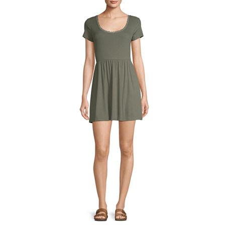 Arizona Freeform Short Sleeve A-Line Dress-Juniors, Small , Green
