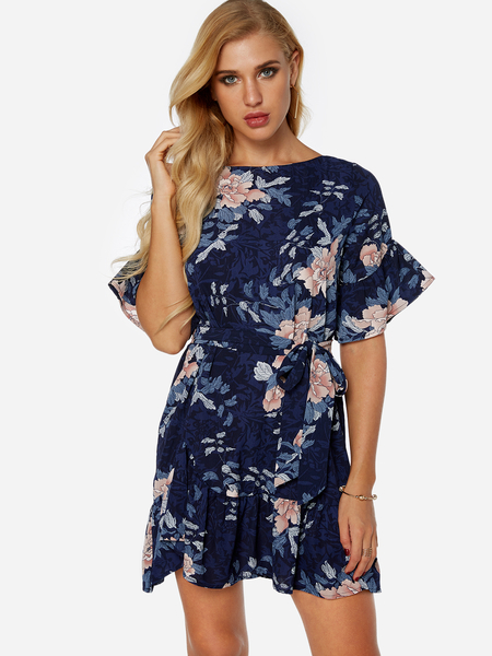 Yoins Random Floral Mini Dress With Half Flared Sleeves
