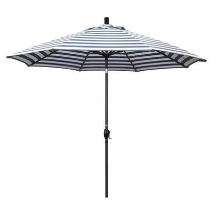 GSPT908117-F96 9' Pacific Trail Series Patio Umbrella With Bronze Aluminum Pole Aluminum RibsPush Button Tilt Crank Lift With Olefin Navy White