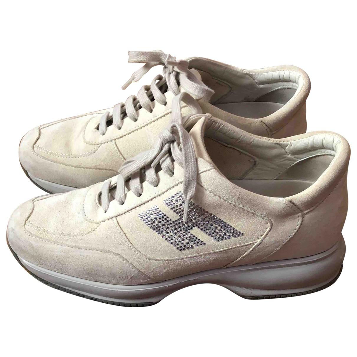Hogan - Baskets   pour femme en suede - blanc