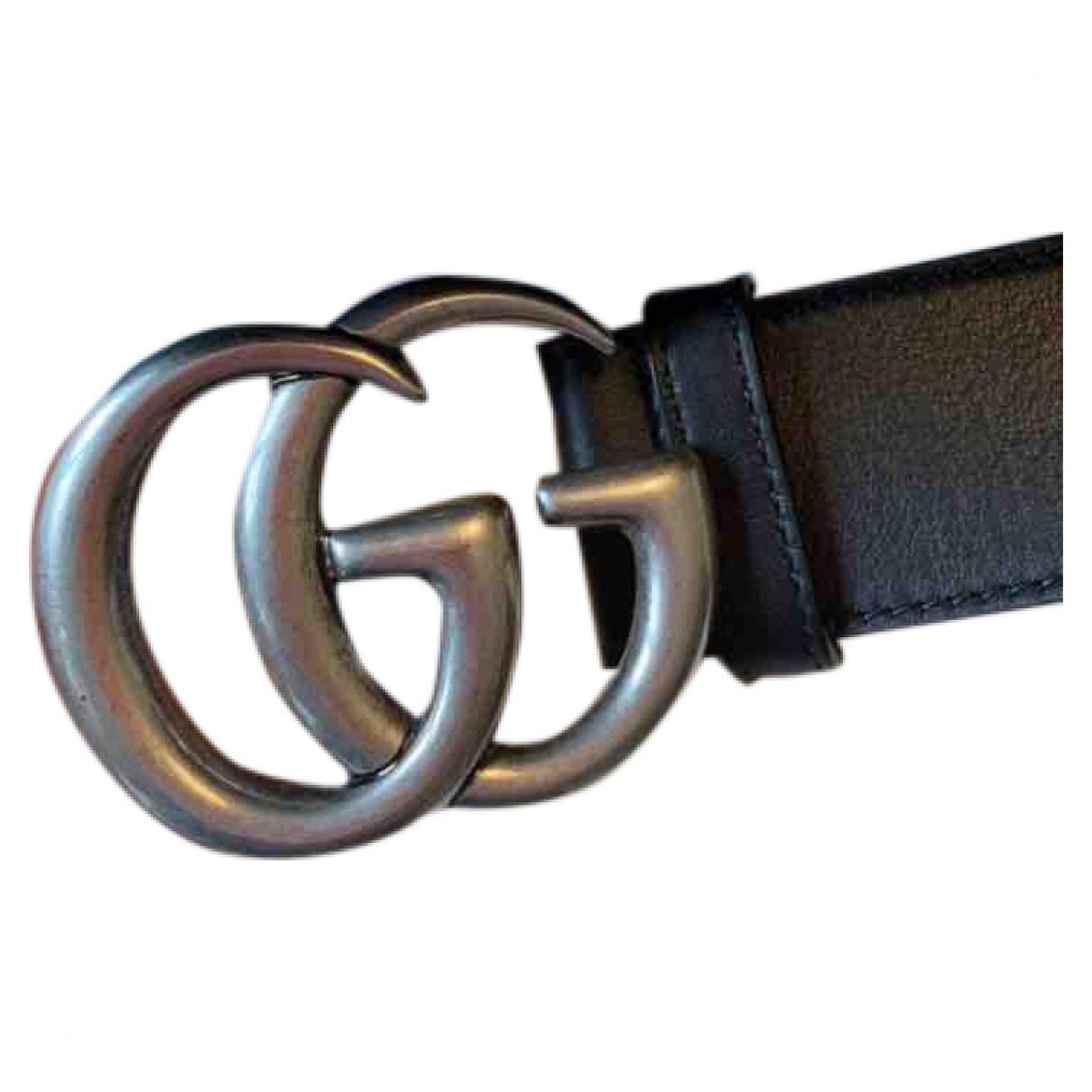 Gucci GG Buckle Black Leather belt for Men 100 cm