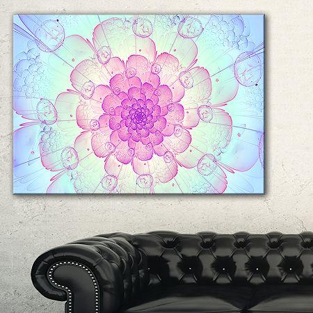 Designart Blue Fractal Flower With Soft Petals Floral Canvas Art Print, One Size , Blue