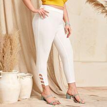 Grosse Grossen - Hose mit elastischer Taille und Ausschnitt Detail