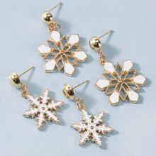 2pairs Christmas Snowflake Charm Drop Earrings