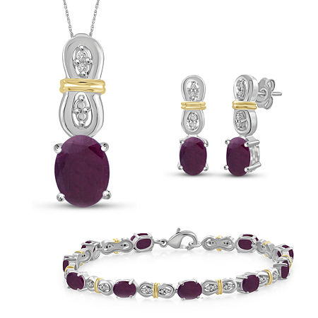 Diamond Accent Lab Created Red Ruby 14K Two Tone Gold Over Silver 4-pc. Jewelry Set, 6 , No Color Family