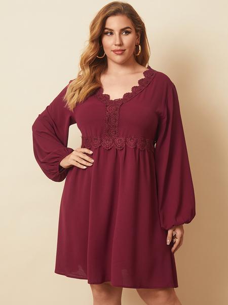 Yoins Plus Size V-neck Red Elastic Strap Lace Long Sleeves Mini Dress