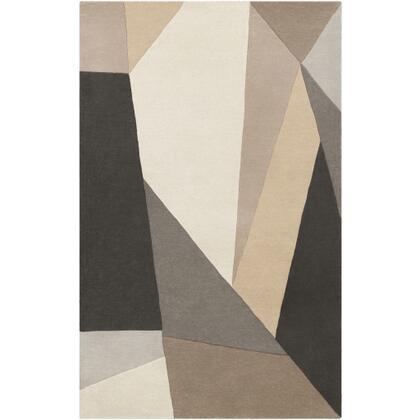 Forum FM-7225 8 x 11 Rectangle Modern Rug in Charcoal  Light Gray  Khaki  Camel  Cream