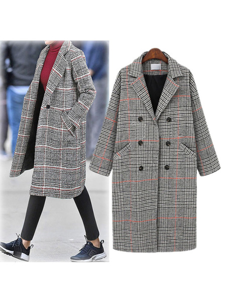 Milanoo Escudo tela escocesa cuello de cobertura Capa ligera gris clasico invierno de las mujeres