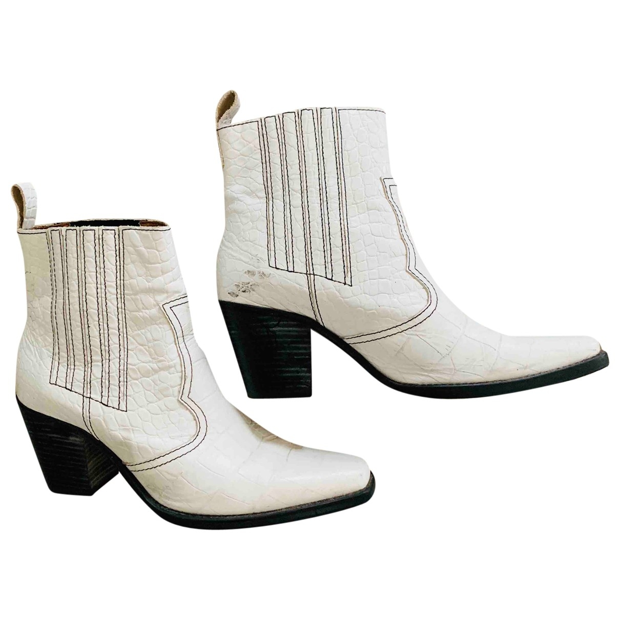 Ganni \N White Leather Boots for Women 41 EU