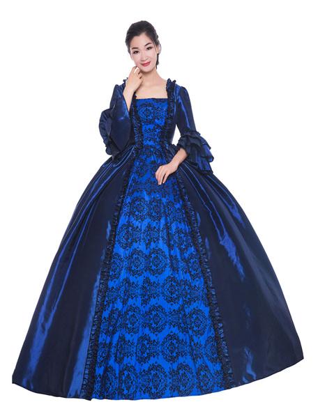 Milanoo Victorian Dress Costume Womens Deep Blue Ruffle Bows Short Sleeves Round Neckline Ball Gown Victorian Era Style Vintage Clothing Halloween