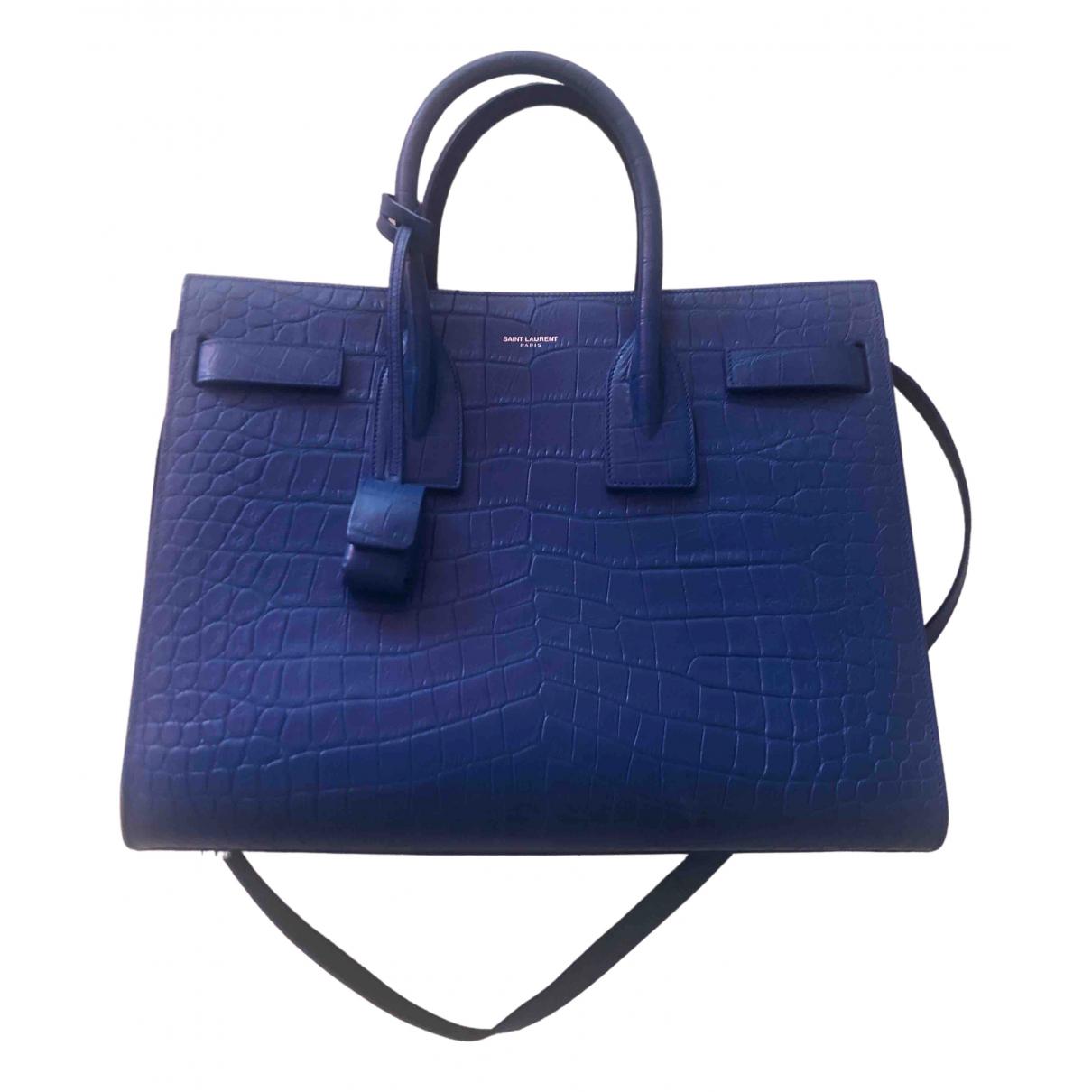 Saint Laurent Sac de Jour Handtasche in  Blau Leder