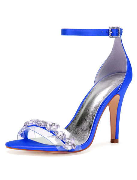 Milanoo Blue Ankle Strap Wedding Sandals Satin High Heel Party Shoes Crystal Open Toe Bridal Shoes