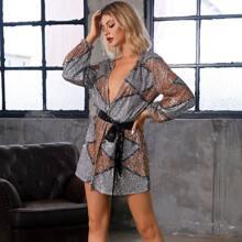 DKRX Color-block Belted Wrap Sequin Dress