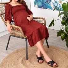 Maternity Kleid mit quadratischem Kragen, Ruesche und Raffungsaum