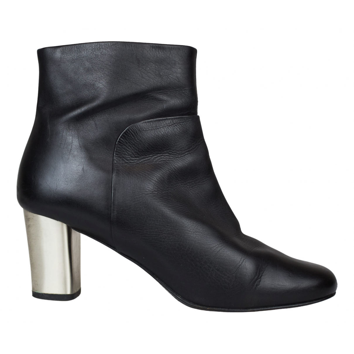 Uterque N Black Leather Ankle boots for Women 38 EU