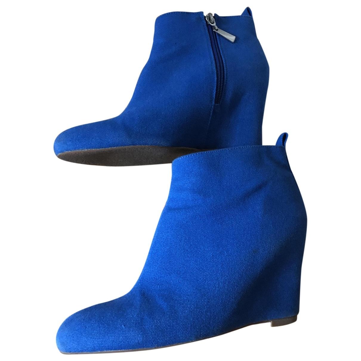 - Boots   pour femme en toile - bleu