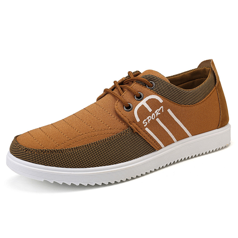Men Splicing Canvas Pure Color Lace Up Casual Trainers
