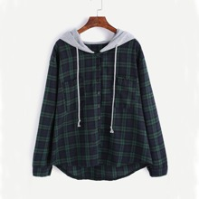 Bluse mit Taschen, Plaid Muster, Kordelzug und Kapuze