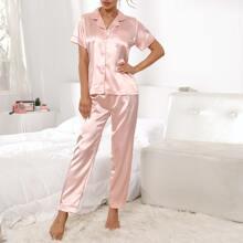 Satin Schlafanzug Set mit Reverskragen und Knopfen vorn