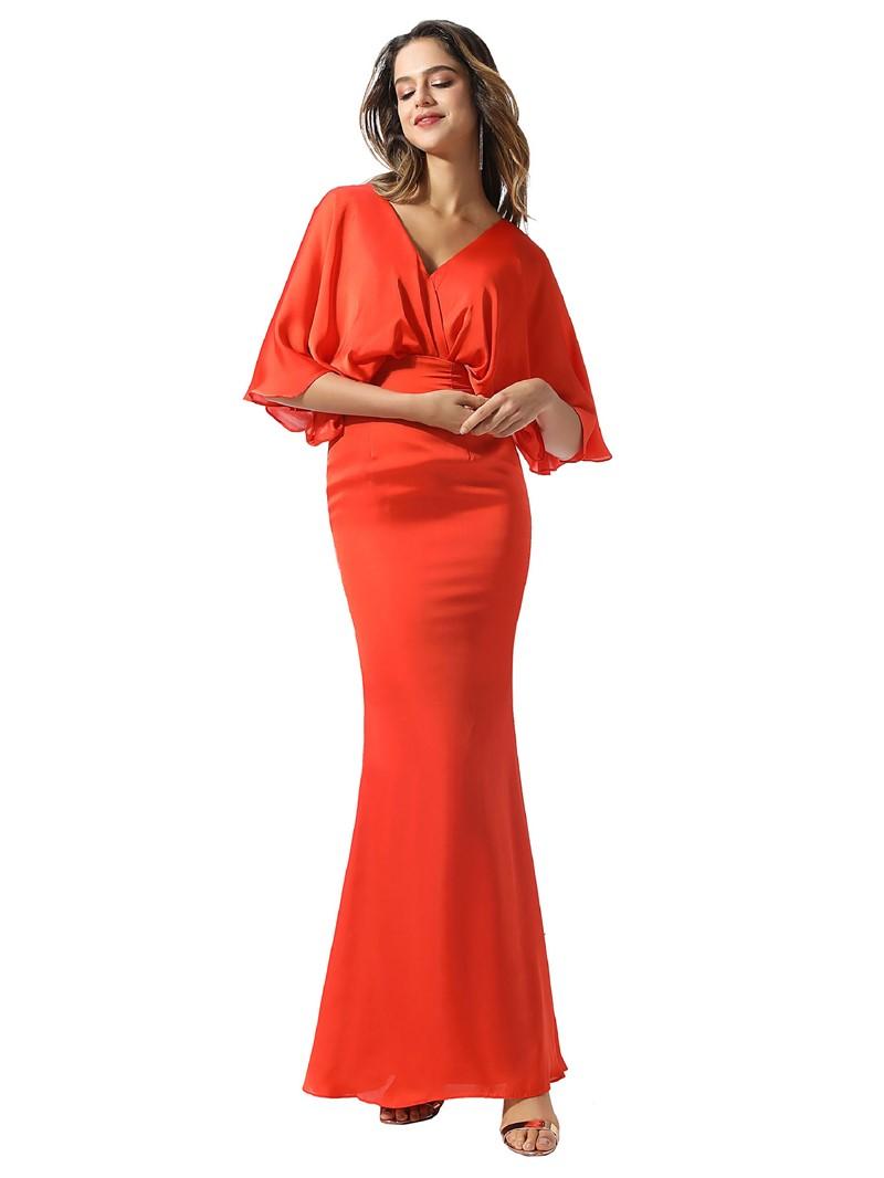 Ericdress V-Neck Sheath/Column Half Sleeves Floor-Length Formal Dress 2020