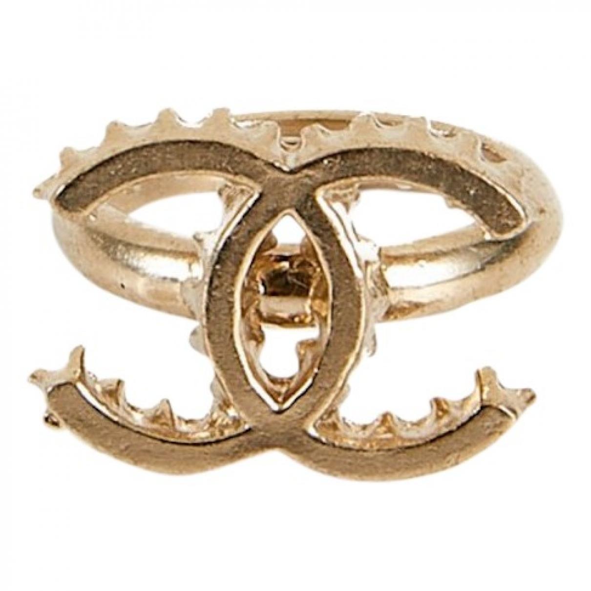Chanel - Bague CC pour femme en metal - dore